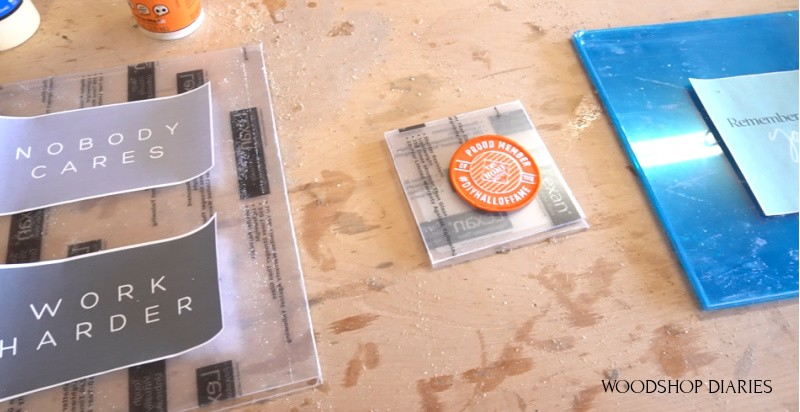 Plexiglass sheets cut and ready to frame for floating DIY picture frame