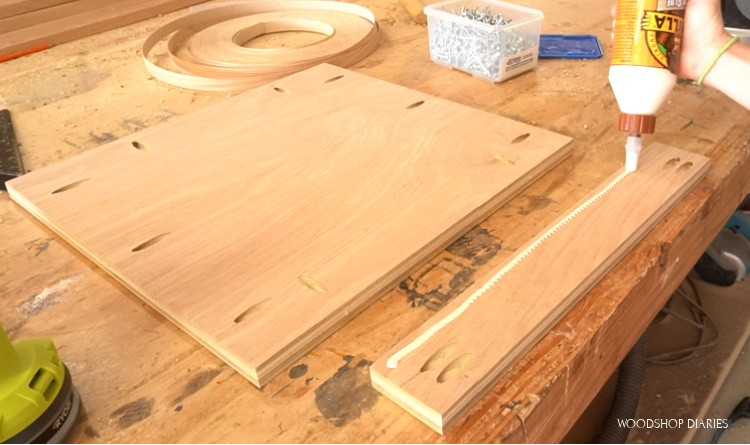 Bottom panel for desk cabinet with pocket holes drilled ready for assembly