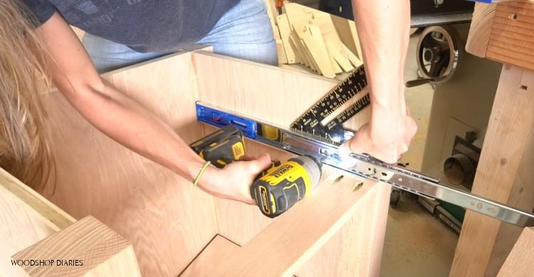 Installing drawer slides into DIY L shaped desk cabinet