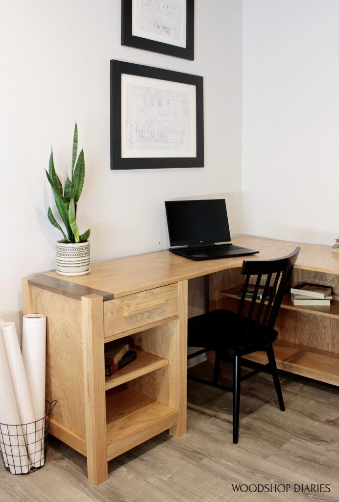 DIY L shaped desk with shelves and drawer--two tone corners with walnut board