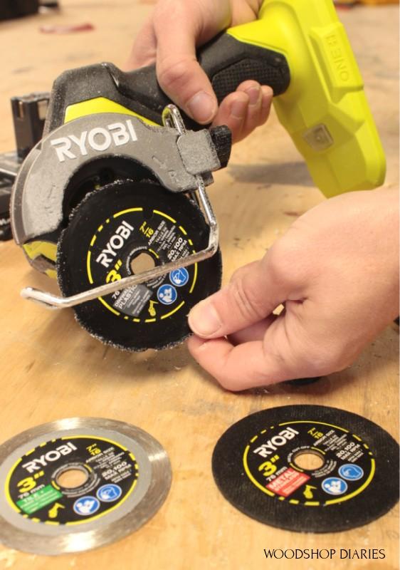 Ryobi ONE+ HP cut off tool with plastic, metal, and diamond blade