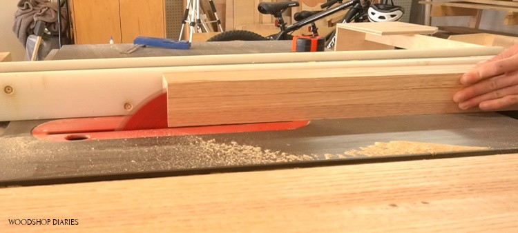 Trimming down desk legs on table saw to final dimensions