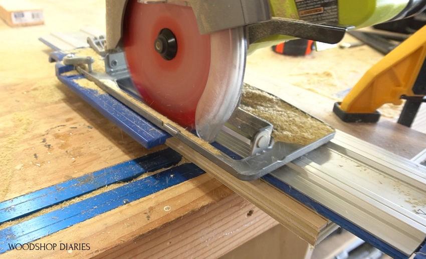 Using circular saw to cut dadoes on plexiglass handles