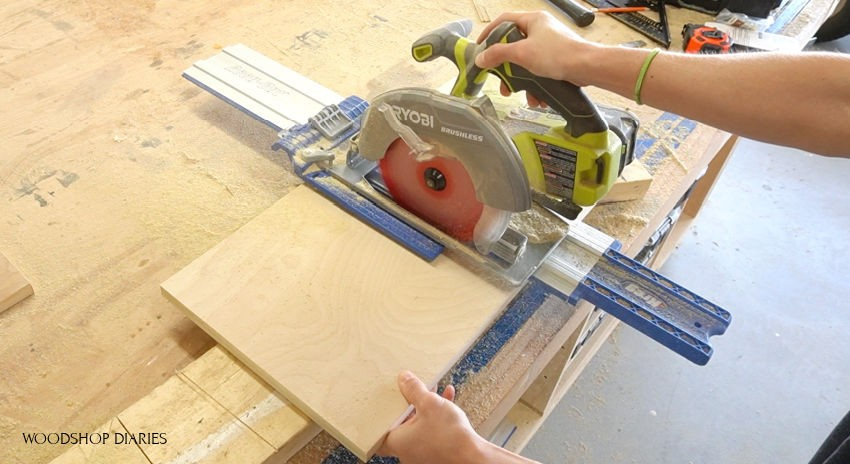 Using Kreg AccuCut and circular saw to cut plywood pieces to size for DIY pie box