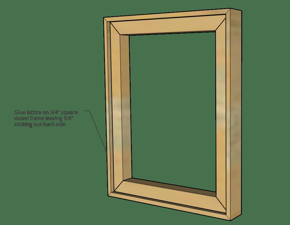 lattice trim and square dowel picture frame diagram