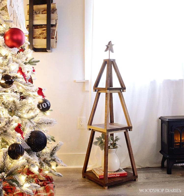 DIY wooden christmas tree shelf stackable--set up next to Christmas tree to display holiday decor