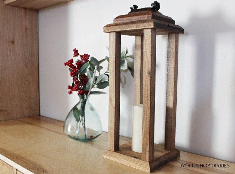 Simple modern DIY scrap wood lantern with battery candle--great for centerpieces