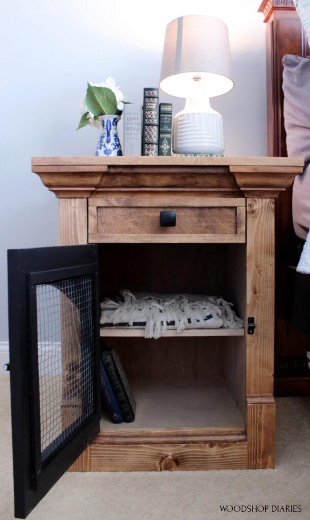 Shelf inside side table cabinet for extra storage