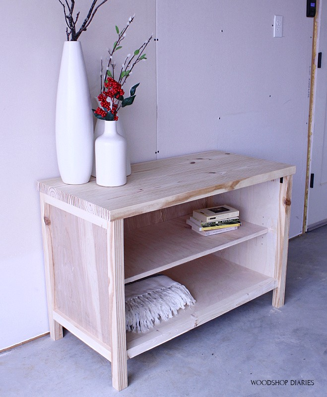 Simple, easy DIY tv stand cabinet with shelf