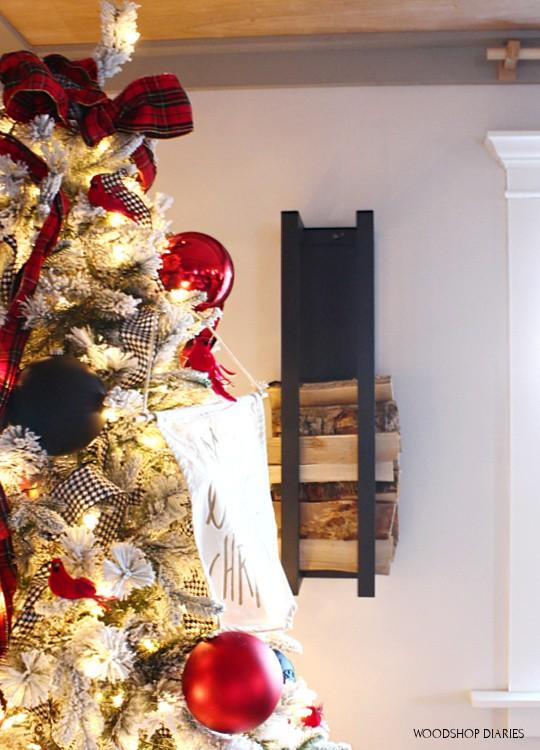 Wood rack on wall behind christmas tree