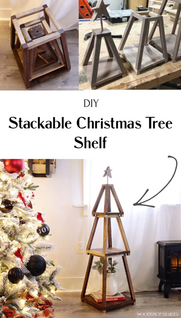 Collage image of stackable Christmas tree shelf stacked together and nesting