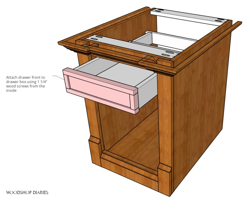Attach drawer front onto drawer in storage end table