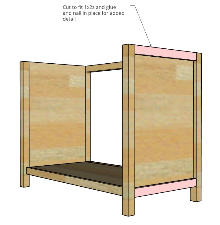 Trim pieces attached on sides of cabinets highlighted in pink