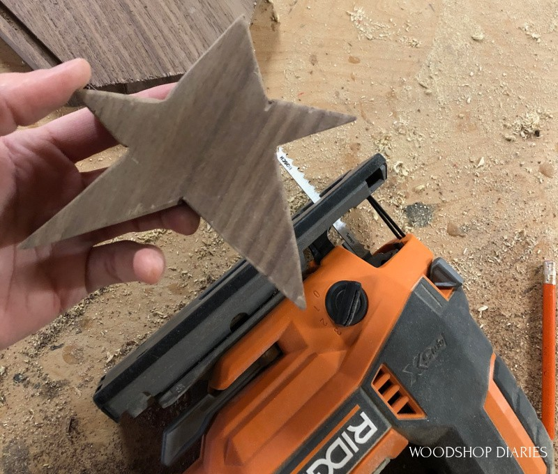 star tree topper cut out with jig saw