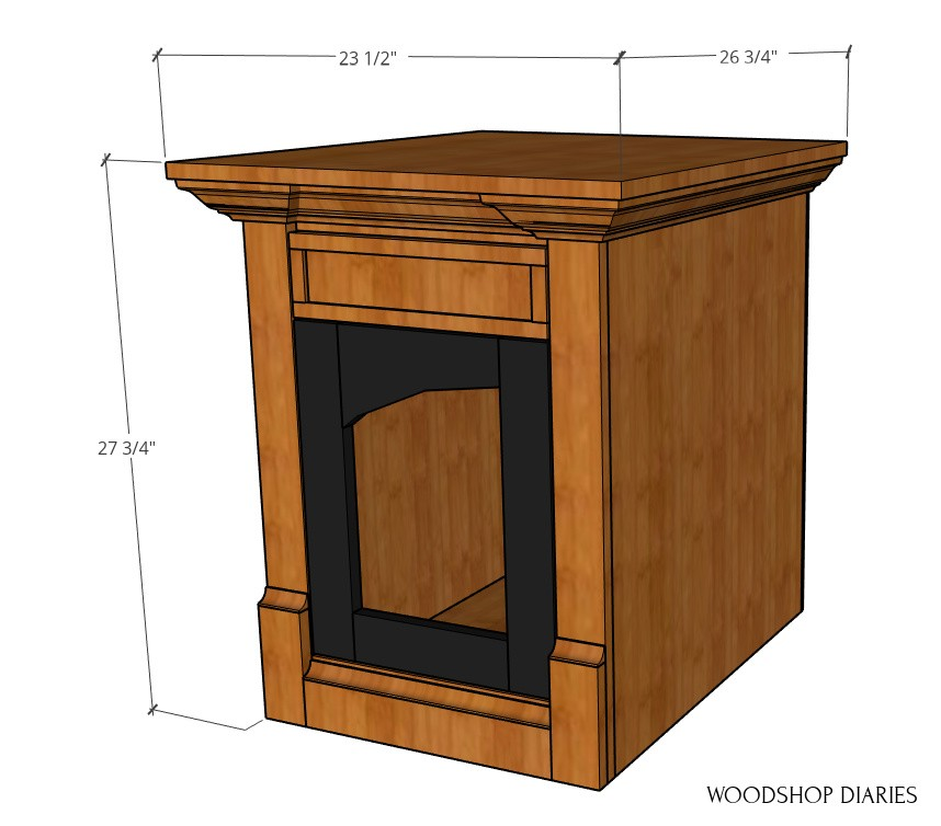 Overall dimensional diagram of dog crate end table