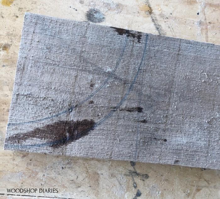 Curve top lantern piece traced onto wood board