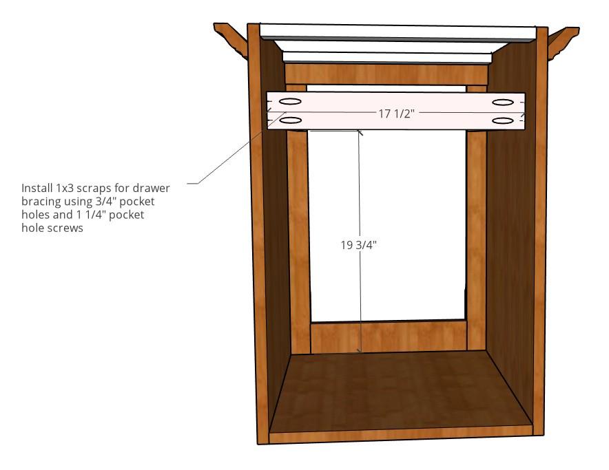 Installing drawer slide bracing into side table cabinet