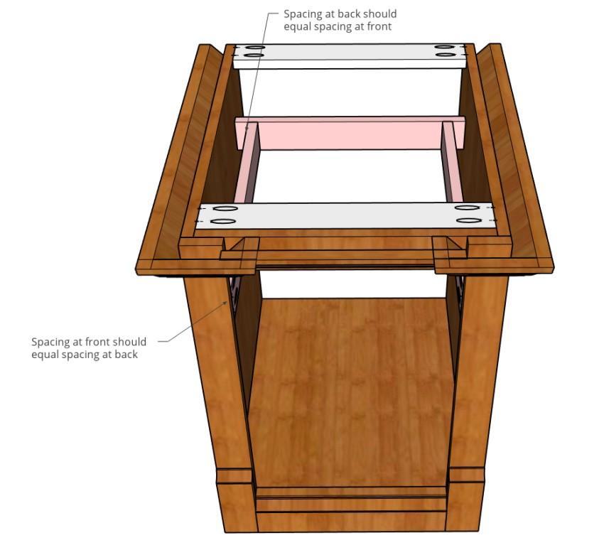 Drawer slide bracing for face frame cabinet
