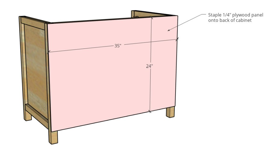 3 D diagram showing back panel dimensions