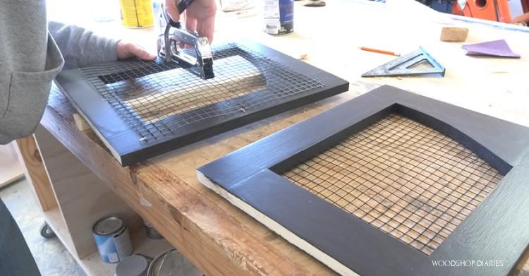 Stapling hardware cloth onto back of door frame