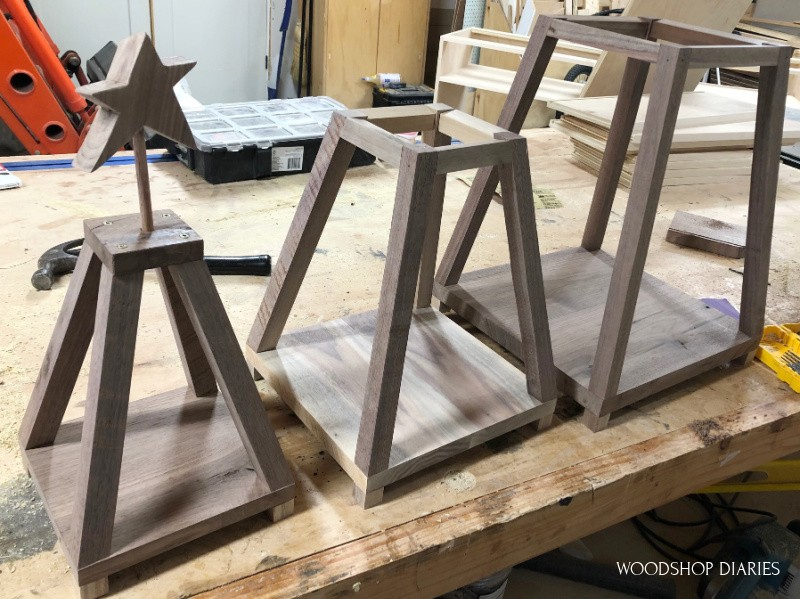 Three sections to make up stackable Christmas tree shelf