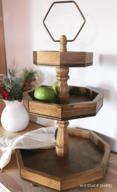 Octagon 3 tier wooden tray stained dark with ring on top--How to Build it