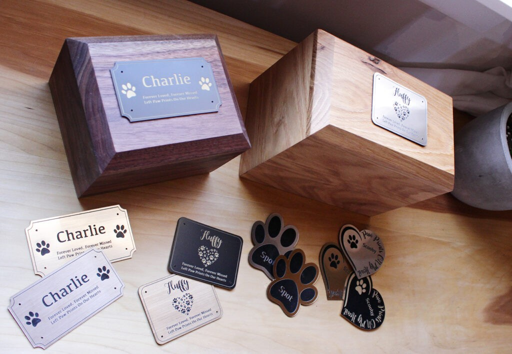 Large and small DIY pet urns with personalized plates