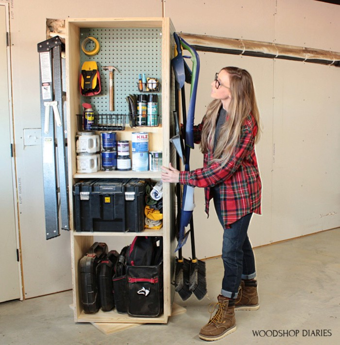 Shara Woodshop Diaries with lazy susan garage organization cabinet