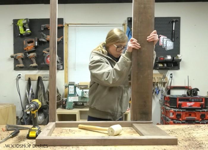 Assembling back panel with wood dowels