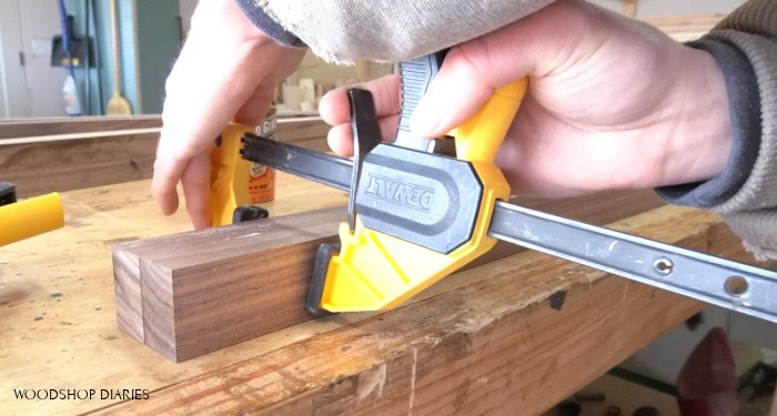clamping 1x2s together to make a 2x2 post