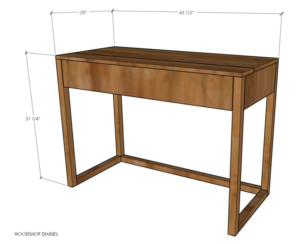 """Overall dimensions diagram of DIY keyboard stand--43 ½"""" wide, 31 ¼"""" tall, 20"""" deep"""