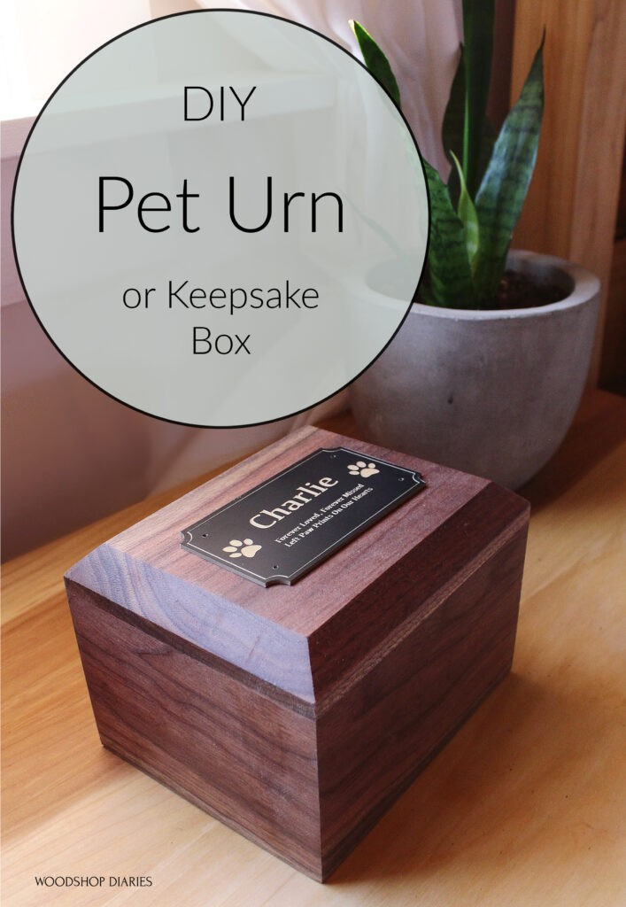 Pet urn pin image with text graphic overlay