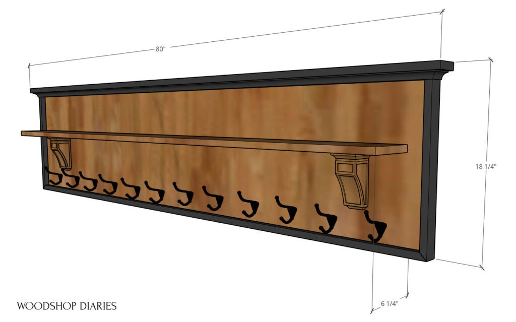 "Overall dimensional diagram of coat rack with shelf--80"" long, 18 ¼"" tall, 6 ¼"" deep"