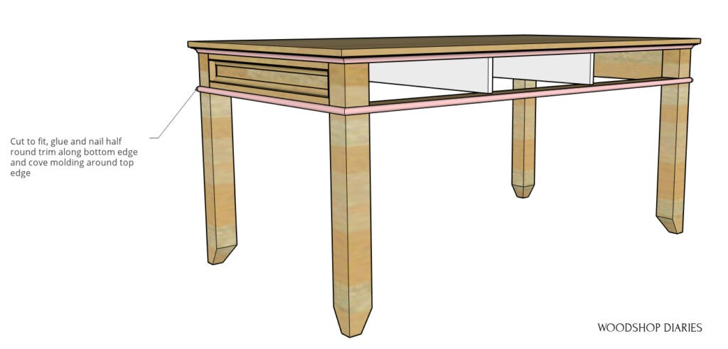 Half round and cove molding highlighted in pink on writing desk diagram
