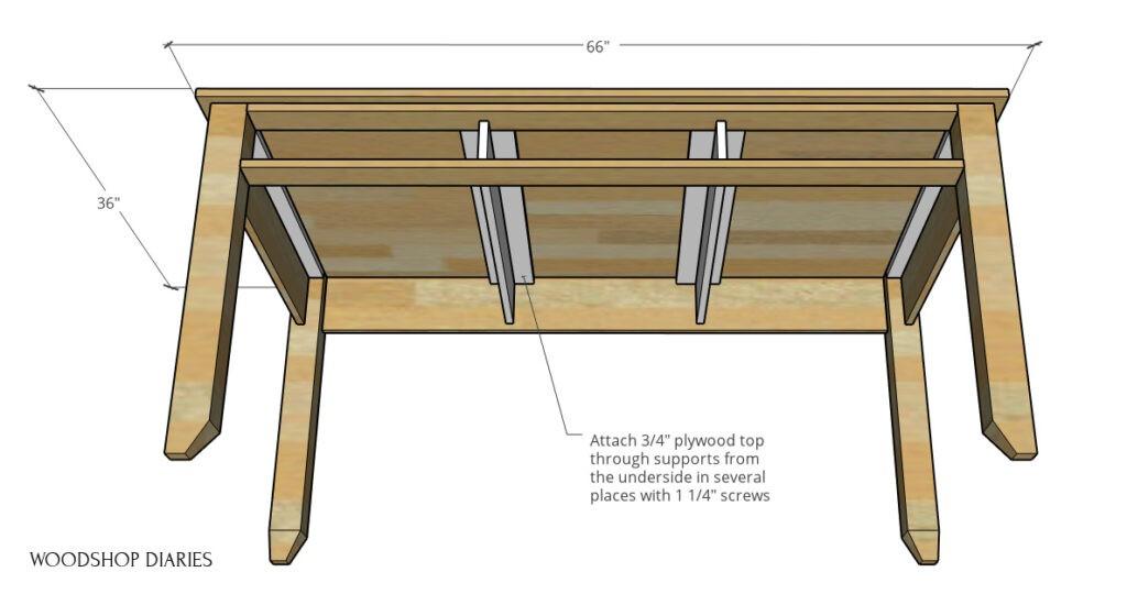 3D diagram of top installed onto desk frame