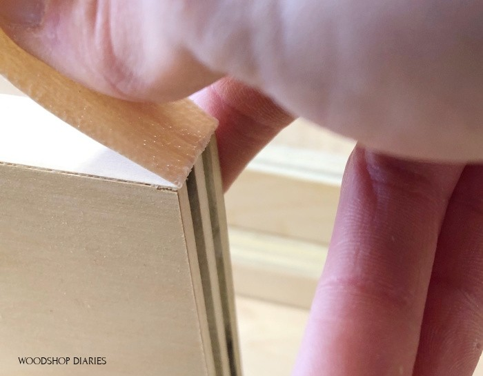 bending veneer edge banding over to break off at end of plywood piece