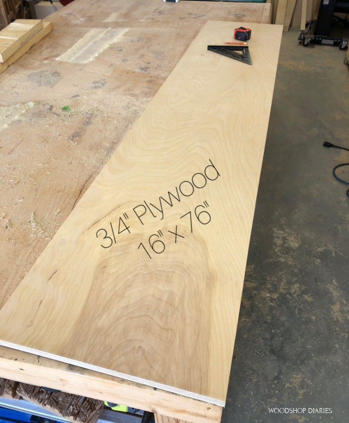 "a 16"" x 76"" piece of ¾"" plywood laying on workbench"