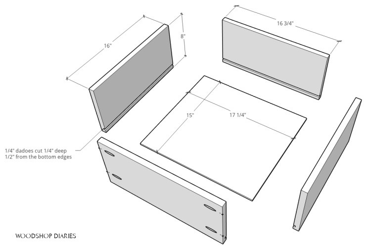 Exploded view of different pieces and cuts to build drawer boxes for shelf piece