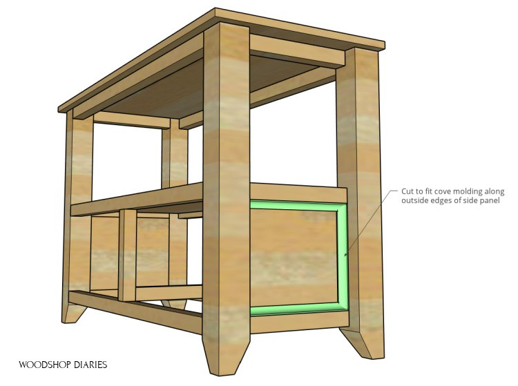 Diagram showing cove molding installed onto side panels of shelf project--highlighted molding in green