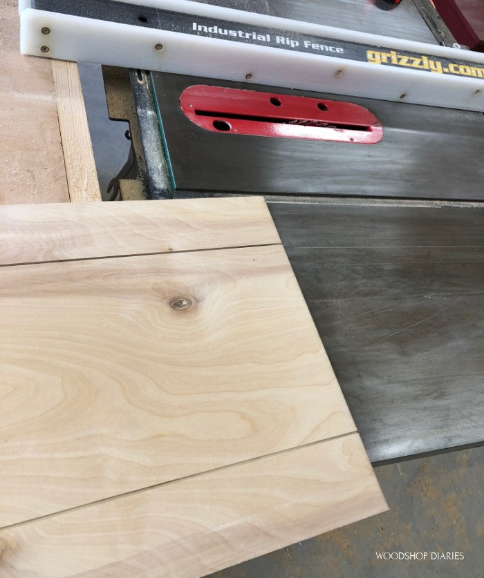 Two dadoes cut along back plywood panel for faux shiplap
