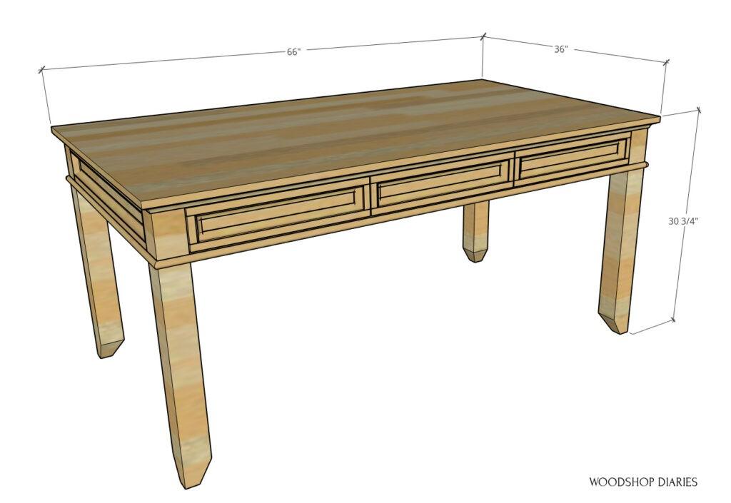 Overall dimensional diagram of DIY writing desk