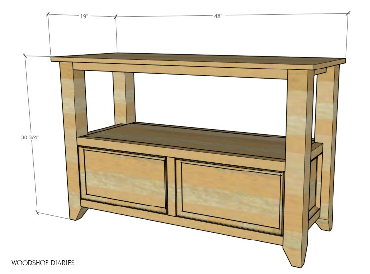 """Overall dimensions of DIY shelf with storage drawers--48"""" wide, 19"""" deep, 30 ¾"""" tall"""