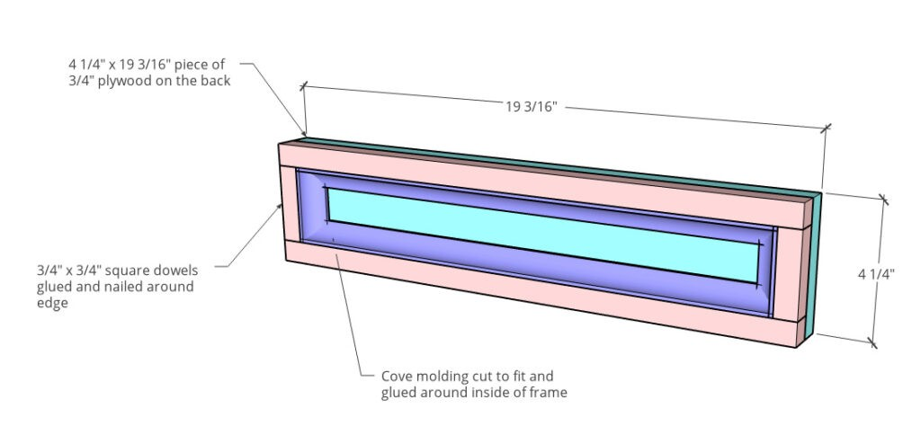 Desk drawer front diagram showing plywood backing, with square dowels and cove molding on top