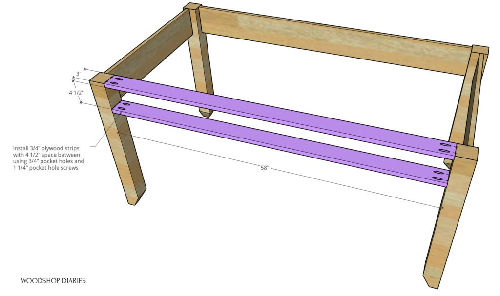 Front supports of DIY writing desk assembly diagram--pieces highlighted in purple