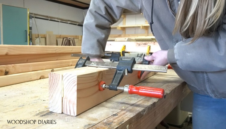 Shara Woodshop Diaries clamping legs together