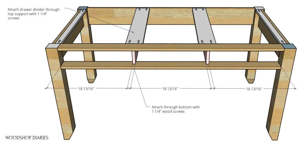 Drawer divider spacing diagram