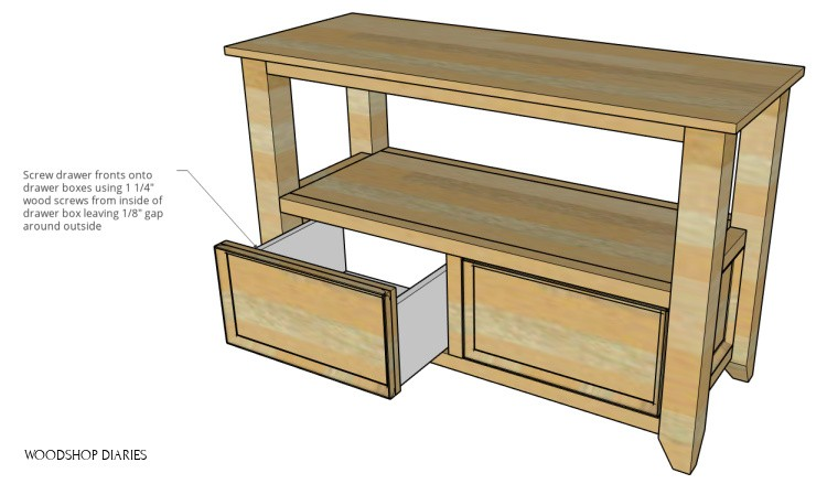 Diagram of DIY shelf with one drawer open showing how to install drawer front from inside