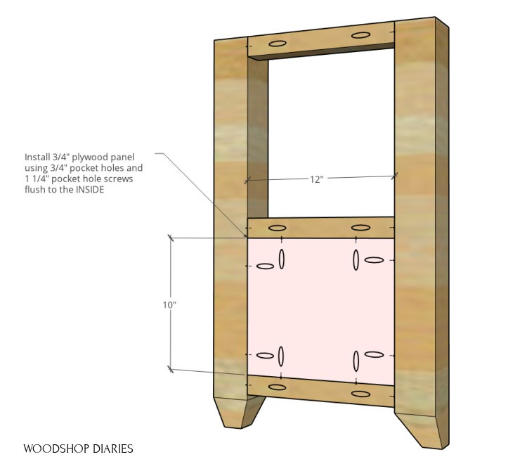 DIY shelf side panel with 3x3 posts, 2x2 frame, and plywood panel installed at bottom