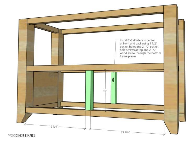 Diagram showing middle dividers installed on bottom of DIY shelf frame