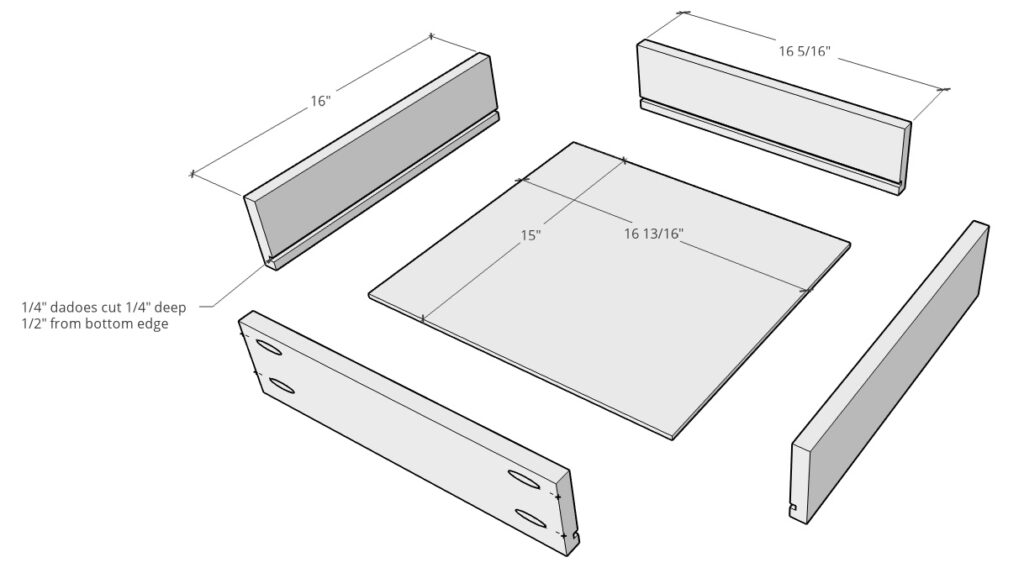 Exploded diagram of drawer box cuts and pieces